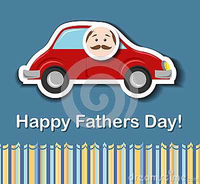 Fathers day card with cartoon car