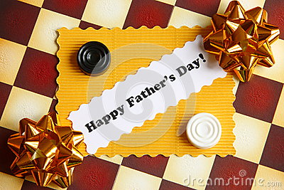 Fathers Day Card on Chessboard - Stock Photo