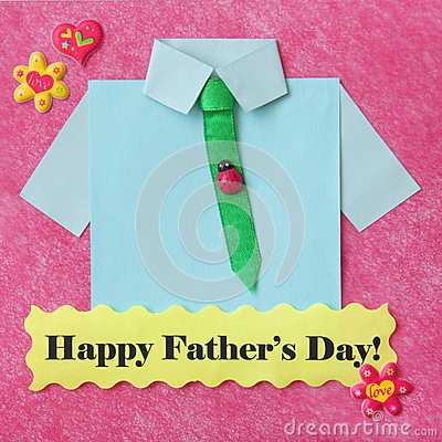 Fathers Day Card - Craft Background - Stock Photo