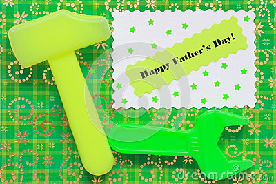 Fathers Day Card - Tools Background - Stock Photo