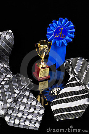 Fathersday Tie, blue ribbon, and trophy cup