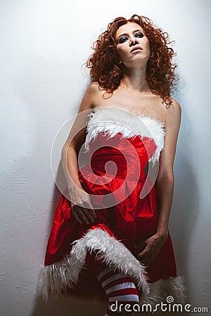Fatigue redheaded woman