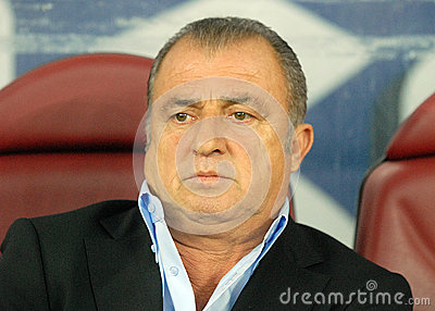 Fatih Terim in Romania-Turkey World Cup Qualifier Game Editorial Image