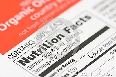 Fatos da nutrição de uma caixa de
