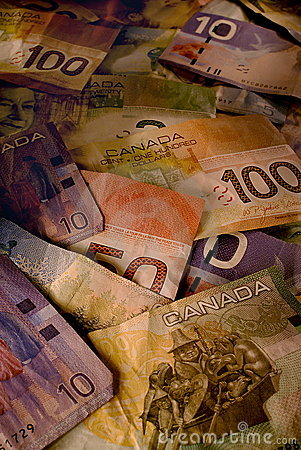 Fatture usate del dollaro canadese all indicatore luminoso caldo