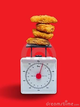 Fatty Chicken Nuggets on Scale