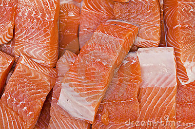 Fatty salmon fillets fresh at market
