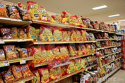 Fatty Snacks in the Supermarket Editorial Photography