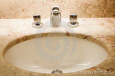Faucet with handles and white sink