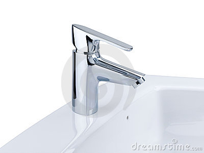Faucet and wash basin isolated on white