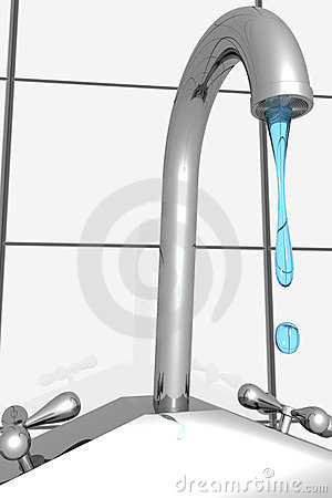 Faucet water dripping