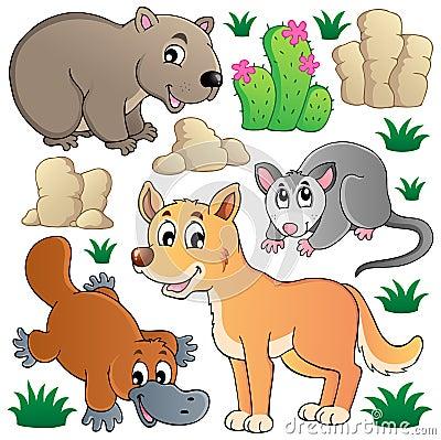 A fauna australiana dos animais selvagens ajustou 1