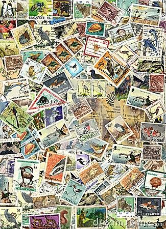 Faune - fond des timbres-poste