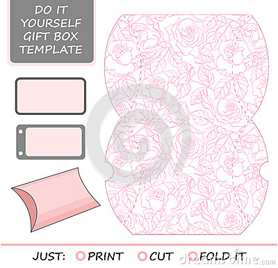 Wedding Gift Box Pattern : Favor, Gift Box Die Cut. Box Template With Rose Stock VectorImage ...