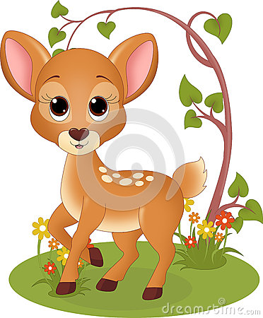 Fawn In The Forest Stock Illustration - Image: 44148523