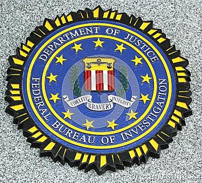 FBI emblem on fallen officers memorial in Brooklyn, NY Editorial Image
