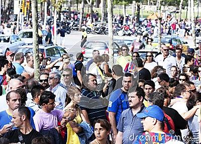 巴塞罗那fc哀伤的支持者 编辑类照片