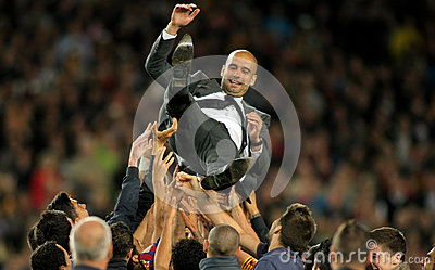 FC Barcelona coach Guardiola Editorial Stock Photo