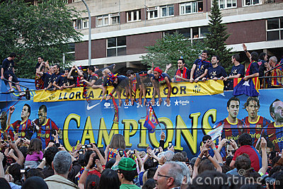 FC Barcelona league champions Editorial Photography