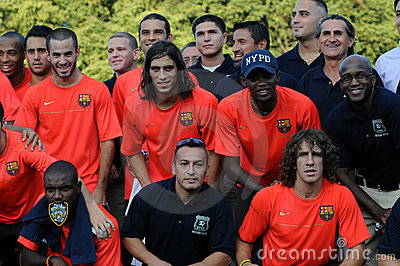 FC Barcelona & NYPD Editorial Image