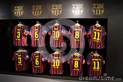 FC Barcelona shirts in FC Barcelona Shop, Spain Editorial Stock Photo