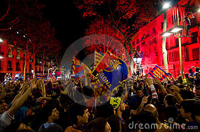 FC Barcelona supporters celebrating the victory Editorial Image