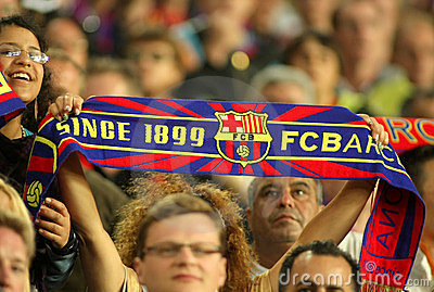 FC Barcelona supporters enjoying Editorial Stock Image