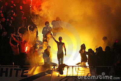 FC Dynamo Kyiv supporters burn flares Editorial Photography