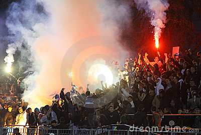 FC Dynamo Kyiv ultra supporters burn flares Editorial Photography