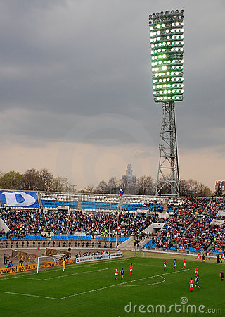 FC Dynamo/Moscow is playing vs FC Spartak/Moscow Editorial Stock Photo