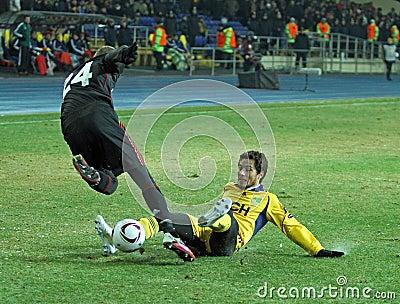 FC Metalist Kharkiv - Bayer 04 Leverkusen Fotografia Editorial