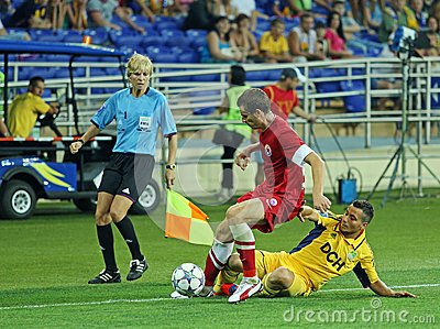FC Metalist vs FC Illichivets soccer match Editorial Photo