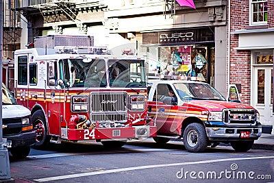 FDNY cars at Soho, New York Editorial Photography