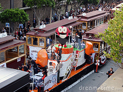 Fear The Beard  Float with red circle character Editorial Photo