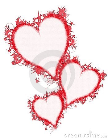 Feather Grunge Red Hearts Clip Art