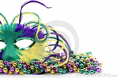 Feather mardi gras mask on beads