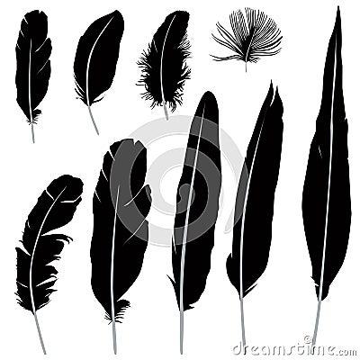Feather Silhouette Set Retro Pen Icon Collection Vector