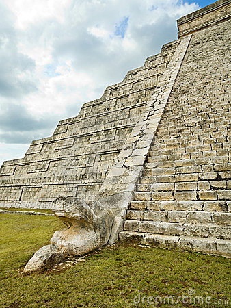Feathered serpent in pyramid Kukulkan Chichen Itza