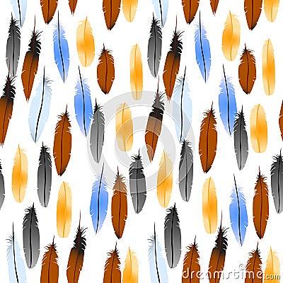 Feathers pattern, seamless