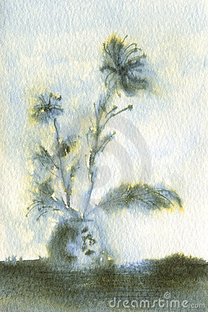 Feathery Blue Flowers in Vase