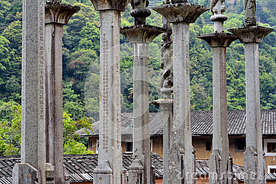 Family stone pole in country of Fujian, China Editorial Photography