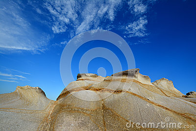 Featured weathering granite under sky, Fujian, China