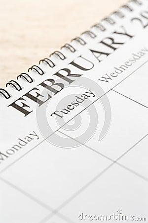 February on calendar.