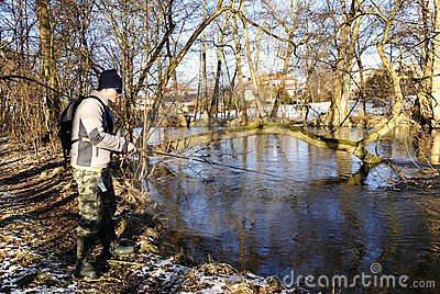 February fishing in river
