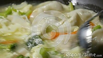 Fecha uma mulher cozinhando verduras e bolinhos sopa em frigideira video estoque