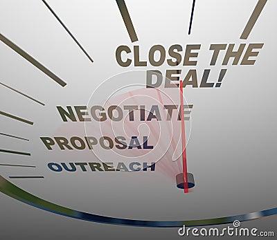 Feche o processo das vendas do velocímetro do negócio ao acordo