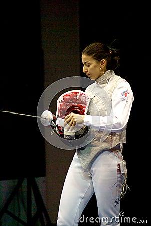 Fechten. Weltcup 2010. Aida Shanaeva Redaktionelles Stockbild