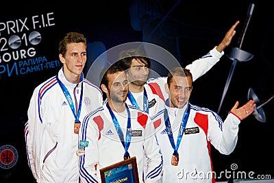 Fechten. Weltcup 2010. Siegerehrung Redaktionelles Bild