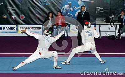 Fechten Yuki Ota. Weltcup 2010. Redaktionelles Stockfotografie