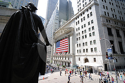Federal Hall and Wall Street Editorial Photography
